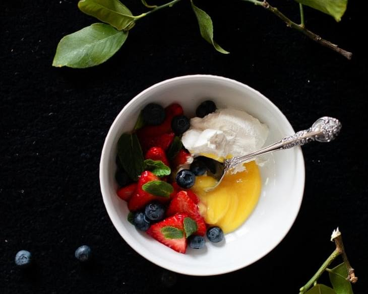 Lemon Curd with Berries and Mint