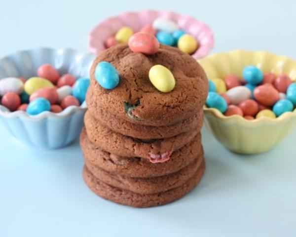 Chocolate Pudding Cookies with Mini Robin Eggs