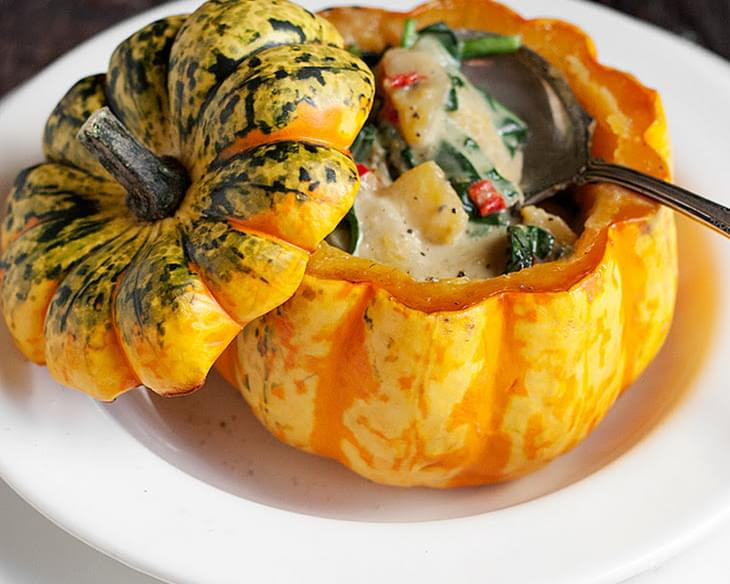 Roasted Squash with Thai Curry Vegetable Filling