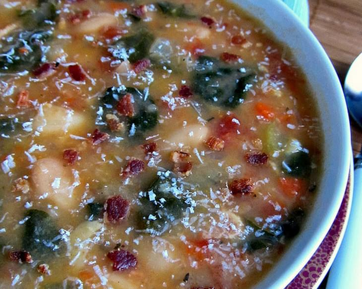 White Bean, Bacon and Spinach Soup