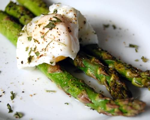 Garlic Roasted Asparagus w/ Poached Egg