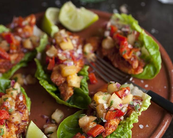 Lettuce Tacos With Chipotle Chicken And Grilled Pineapple Salsa
