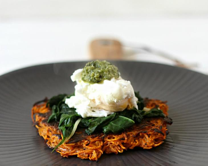 Sweet Potato Fritters With Garlicky Greens, Poached Eggs And Pesto