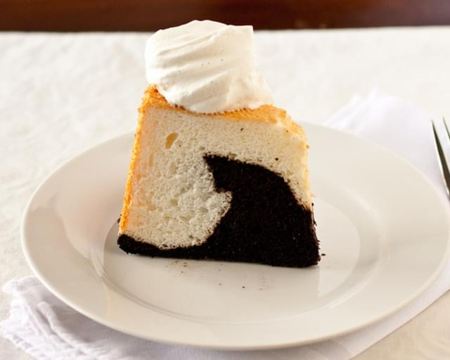 Black and White Angel Food Cake with Vanilla Bean Whipped Cream