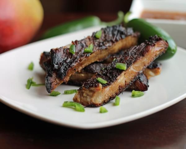 Jerk Ribs with Jalapeno Mango Barbecue Sauce