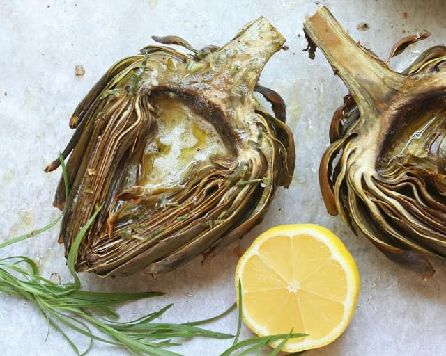 Roasted Artichokes w/ Lemon Tarragon Butter