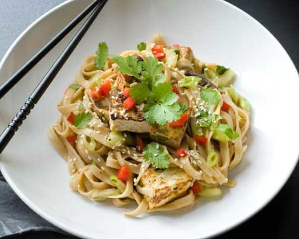 Gluten Free Spicy Ginger Tofu Noodle Salad