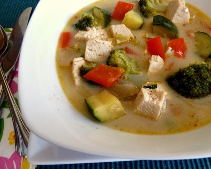 Spicy Coconut Soup with Chicken and Vegetables