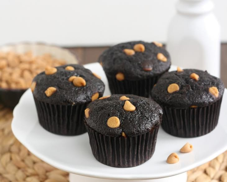Cocoa Banana Muffins with Peanut Butter Chips