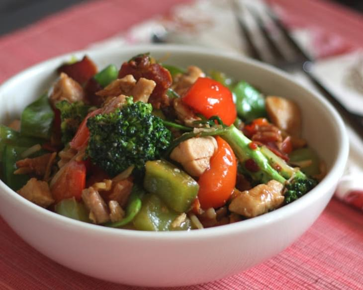 Spicy Chinese Vegetable Stir Fry with Chicken