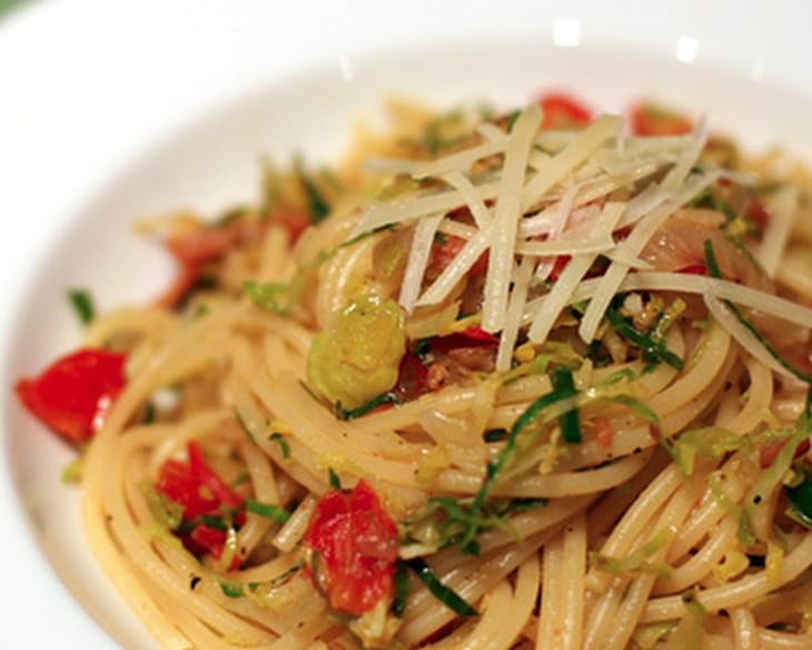 Spaghetti with Pancetta and Brussels Sprouts