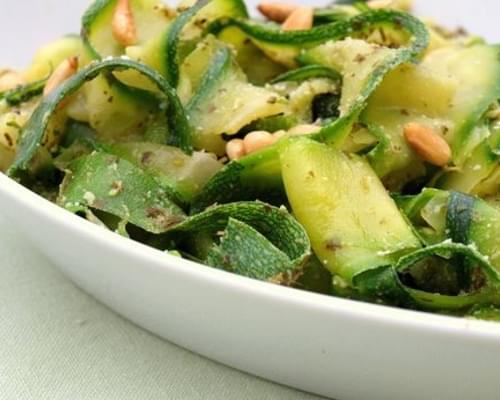 "Zucchini ""Noodles"" with Pesto & Pine Nuts"