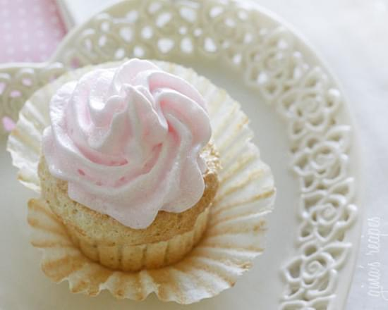 Sweet Light Angel Food Cupcakes with Meringue Icing