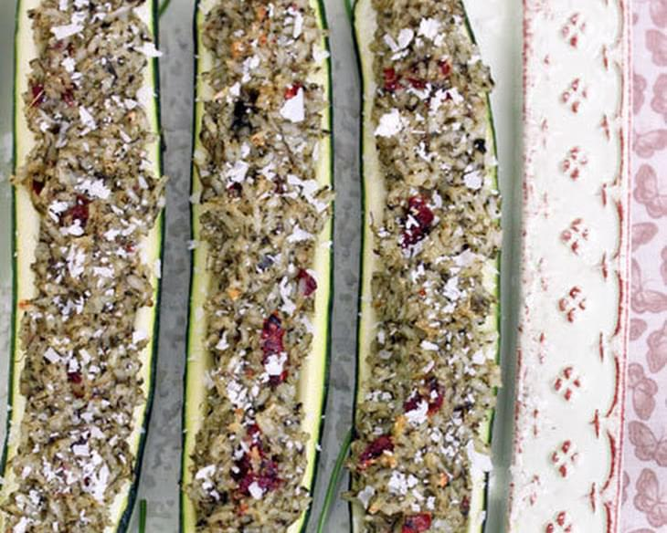 Stuffed Zucchini Boats with Parmesan Spinach Rice