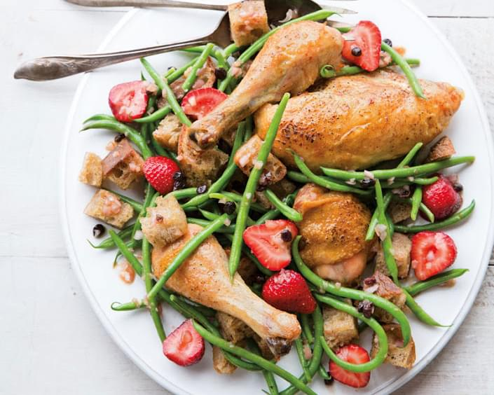 Roast Chicken & Bread Salad with Haricots Verts & Strawberries