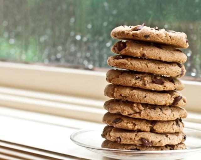 Salt-Kissed Chunky Peanut Butter Vegan Chocolate Chip Cookies