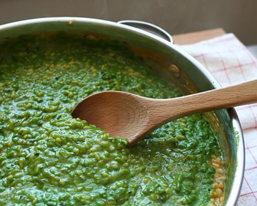 Toasted Barley Risotto with Spinach and Herb Purée (from Bon Appetit)