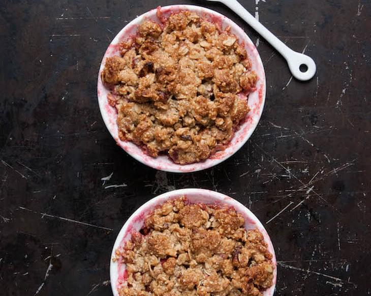 Gluten Free Rhubarb Raspberry Crisp for Two
