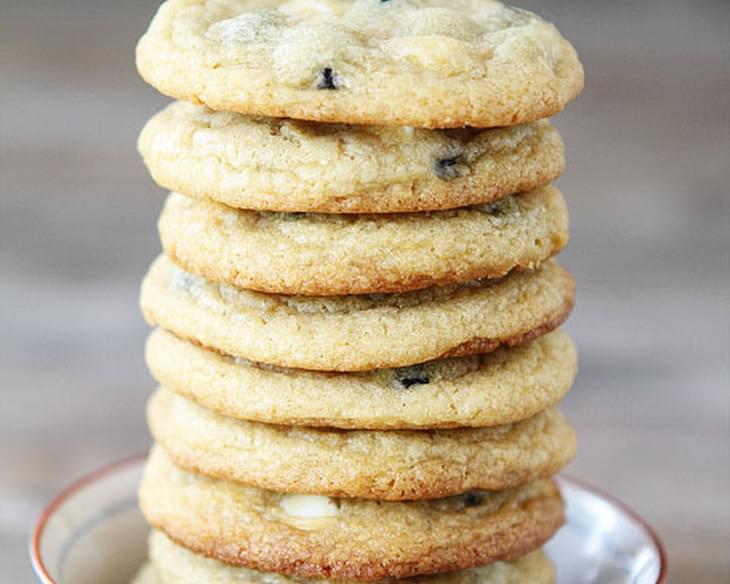 Soft Lemon Cookies With Dried Blueberries And White Chocolate Chips.