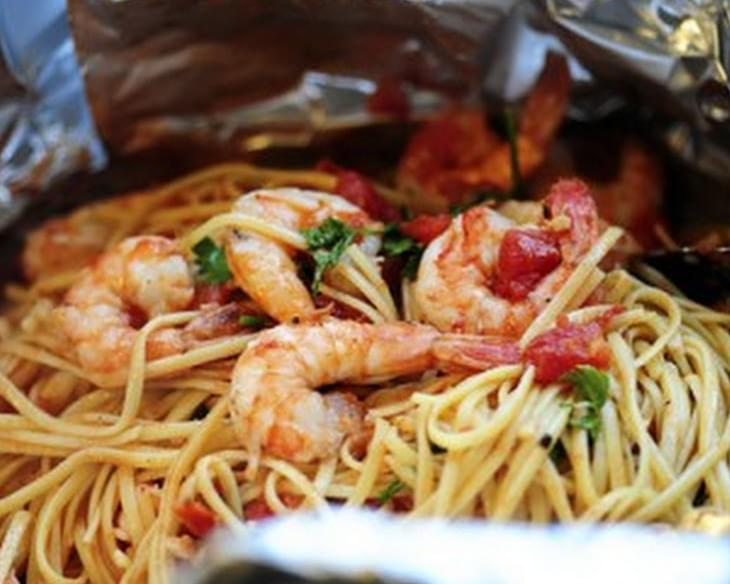 Shrimp Pasta in a Foil Package