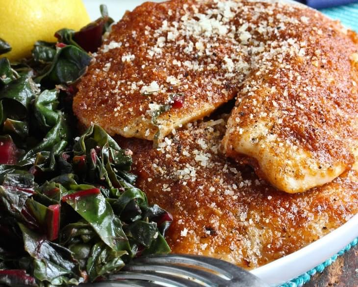 Smoked Paprika-Parmesan Fish with Sauteed Greens