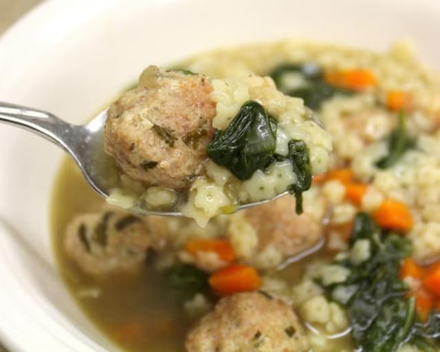 Crock Pot Italian Wedding Soup with Turkey Meatballs Recipe