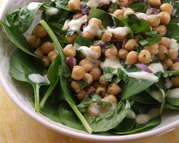 Chickpea & Spinach Salad w/ Cumin Dressing