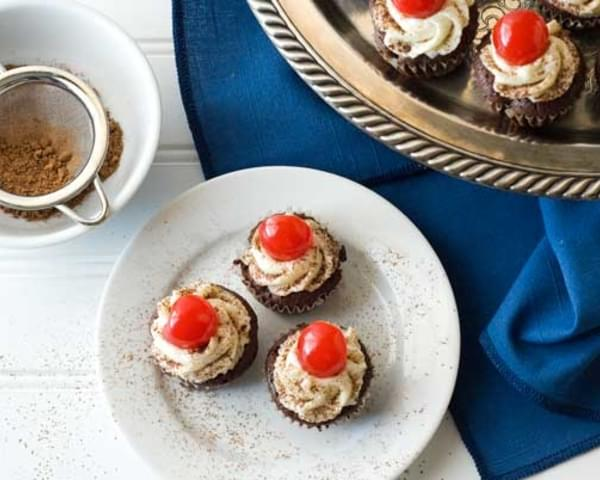 Gluten Free Flourless Mini Chocolate Cherry Cupcakes