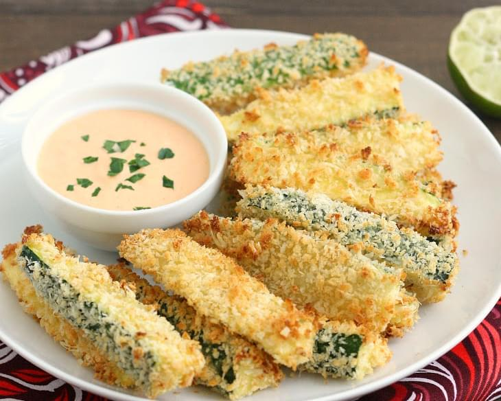 Crispy Baked Zucchini Fries with Sriracha Lime Mayo