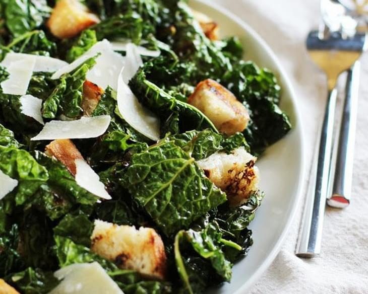 Garlicky Grilled Kale Salad with Grilled Bread