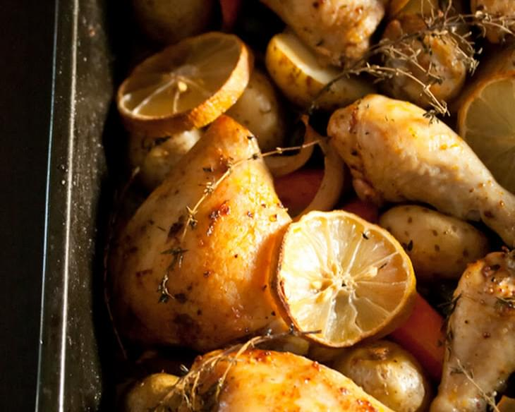 Roast Chicken Legs with Olives and Lemon