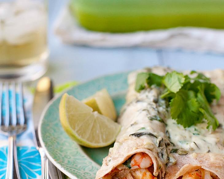 Shrimp Enchiladas with Roasted Poblano Sauce