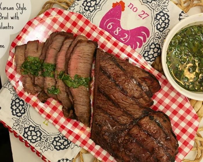 Grilled Korean Style London Broil with Spicy Cilantro Sauce