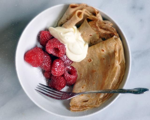 Rye Flour Crepe Bowls with Lemon Creme Fraiche (For Two)