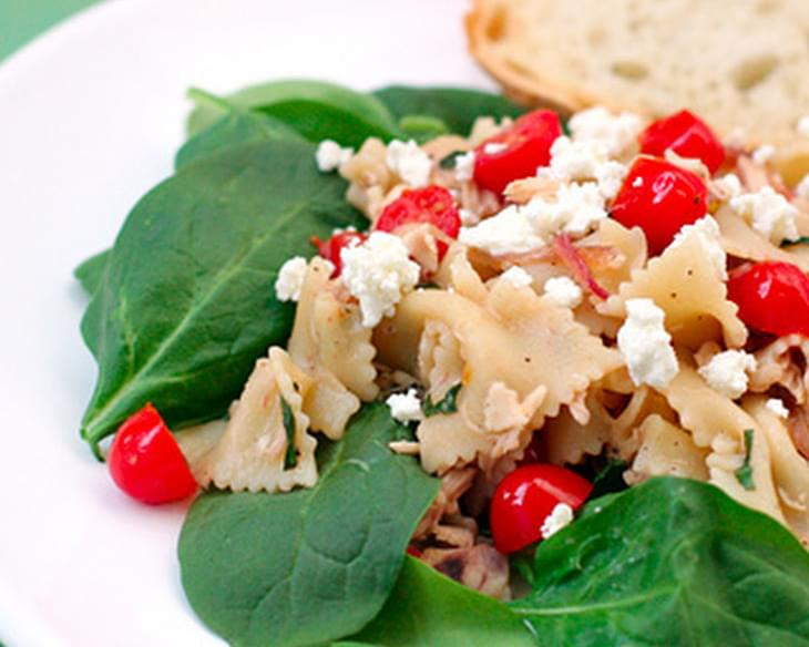 Farfalle with Chicken, Tomatoes, Caramelized Onions, and Goat Cheese