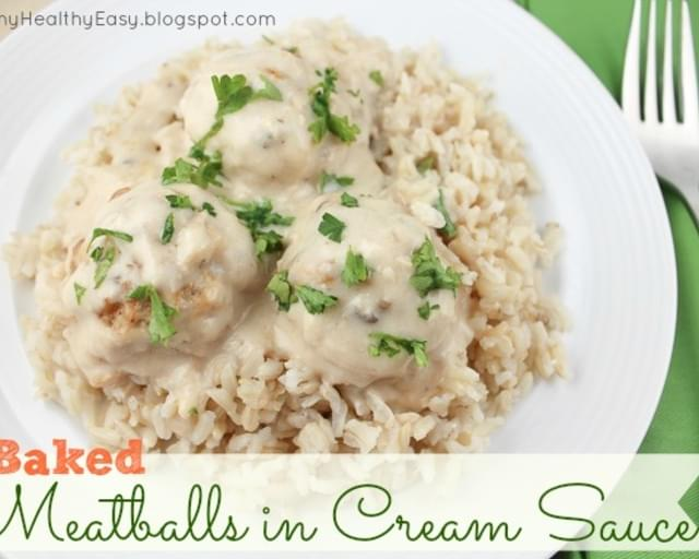 Baked Turkey Meatballs in Cream Sauce