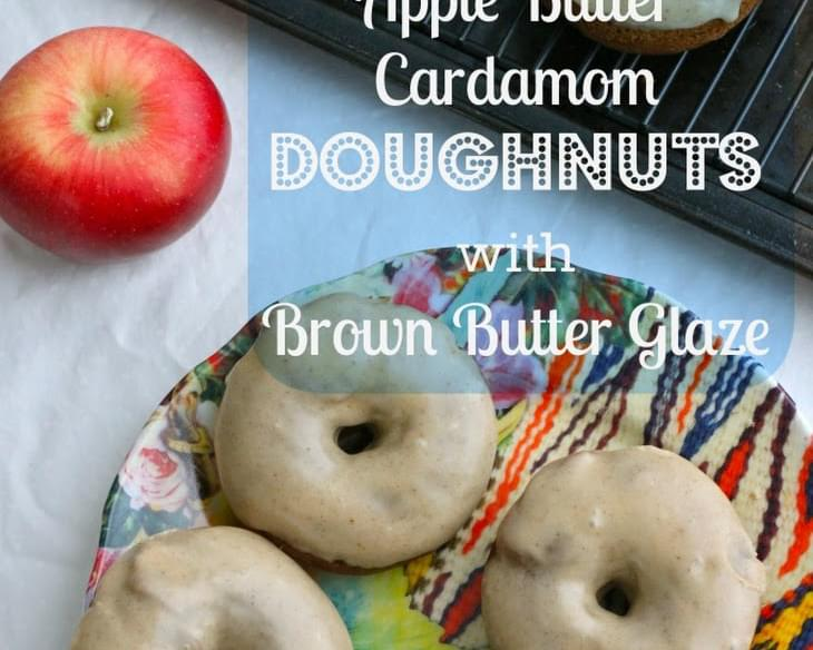 Baked Apple Butter Cardamom Doughnuts with Brown Butter Glaze