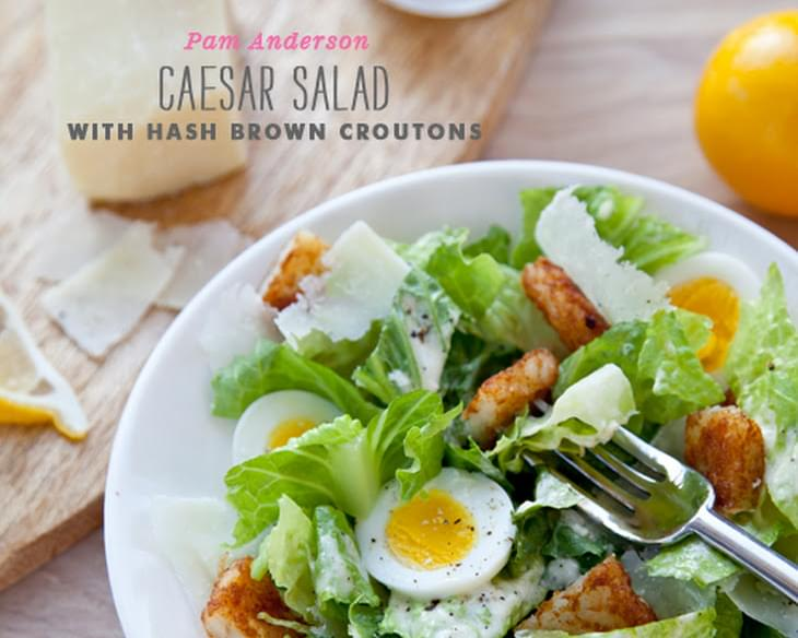 Chopped Egg Caesar Salad with Hash Brown Croutons