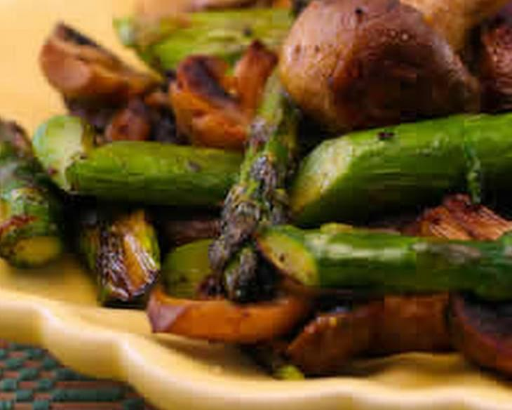 Recipe for Roasted Asparagus and Mushrooms with Spike Seasoning
