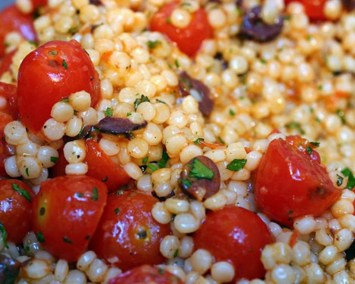 Pearl Couscous with Olives and Roasted Tomatoes Recipe