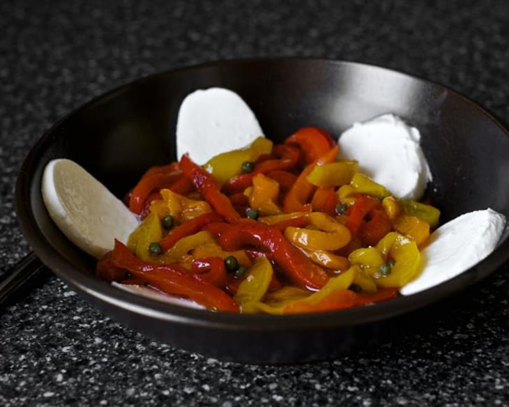 Marinated Roasted Peppers with Capers and Mozzarella
