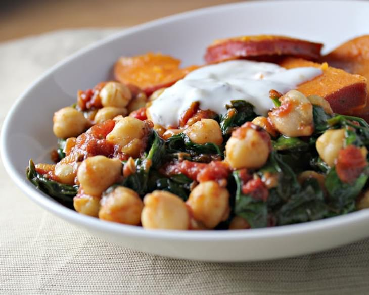 Chickpeas and Spinach with Honeyed Sweet Potato