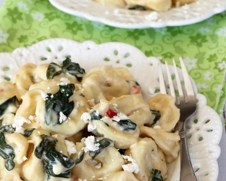 Cheese Tortellini with Spinach Feta Alfredo Sauce
