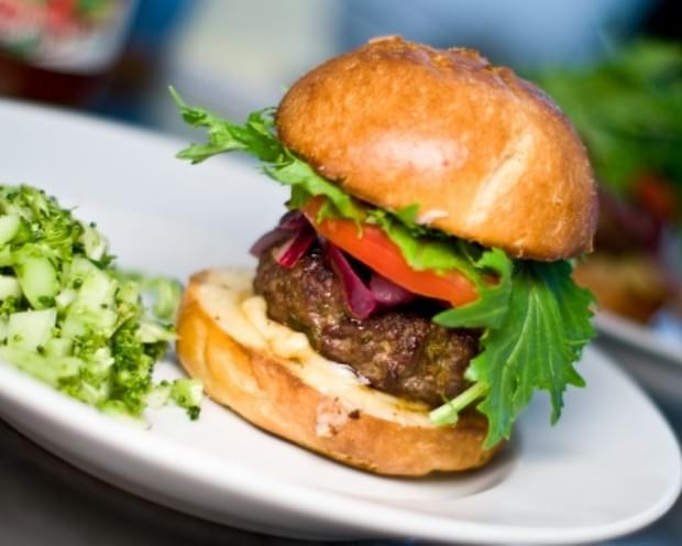 Hoisin Ginger Burgers With Lime Pickled Onions