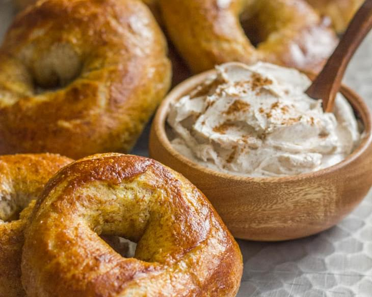 Whole Wheat Soft Pretzel Bagels With Cinnamon Sugar Cream Cheese