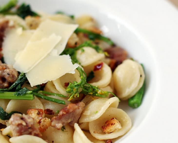Orecchiette with Italian Sausage, Broccoli Rabe and Crunchy Garlic Breadcrumbs