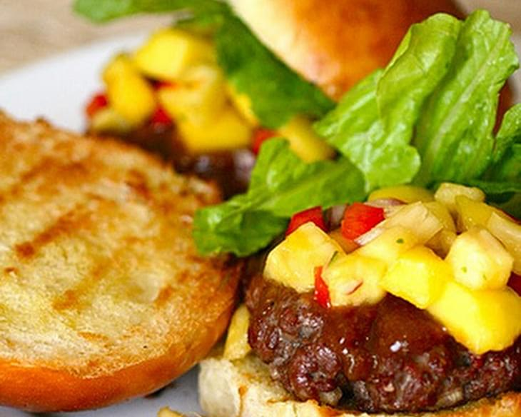 Teriyaki Burgers with Mango Pineapple Salsa