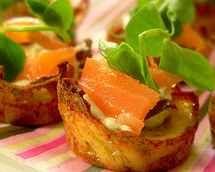 Smoked Salmon Potato Nests
