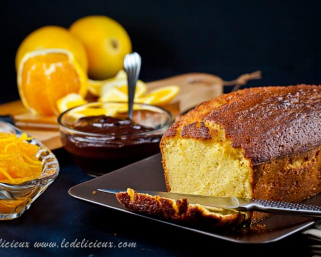 Orange-Scented Olive Oil Cake with Orange Compote & Chocolate Sauce