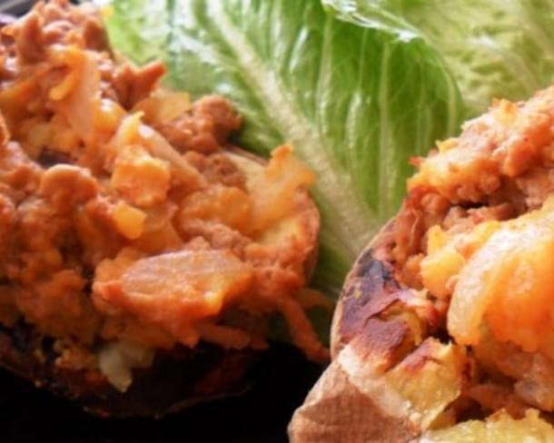 Loaded Turkey Stuffed-Twice Baked Sweet Potatoes